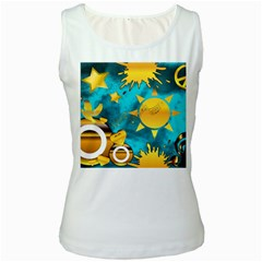 Musical Peace Women s Tank Top (White)