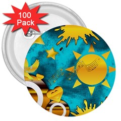 Musical Peace 3  Button (100 Pack)