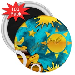 Musical Peace 3  Button Magnet (100 pack)