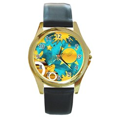 Musical Peace Round Leather Watch (Gold Rim)