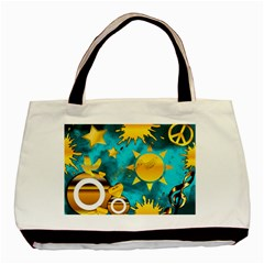 Musical Peace Twin Sided Black Tote Bag