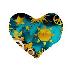 Musical Peace 16  Premium Heart Shape Cushion