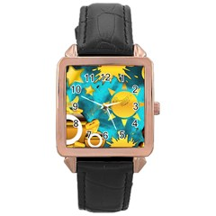 Musical Peace Rose Gold Leather Watch