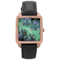 Celtic Symbolic Fractal Rose Gold Leather Watch