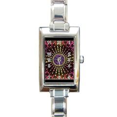Hot Lavender Celtic Fractal Framed Mandala Rectangular Italian Charm Watch