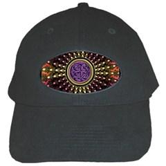 Hot Lavender Celtic Fractal Framed Mandala Black Baseball Cap
