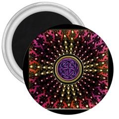 Hot Lavender Celtic Fractal Framed Mandala 3  Button Magnet