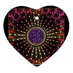 Hot Lavender Celtic Fractal Framed Mandala Heart Ornament