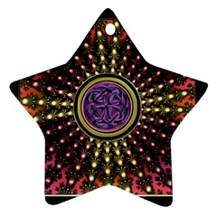 Hot Lavender Celtic Fractal Framed Mandala Star Ornament