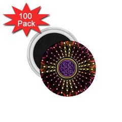 Hot Lavender Celtic Fractal Framed Mandala 1.75  Button Magnet (100 pack)