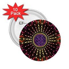 Hot Lavender Celtic Fractal Framed Mandala 2 25  Button (10 Pack)