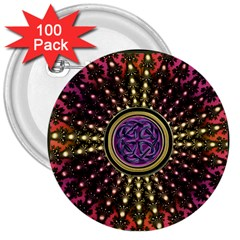 Hot Lavender Celtic Fractal Framed Mandala 3  Button (100 pack)