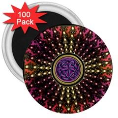 Hot Lavender Celtic Fractal Framed Mandala 3  Button Magnet (100 Pack)