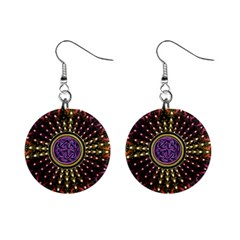 Hot Lavender Celtic Fractal Framed Mandala Mini Button Earrings