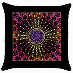 Hot Lavender Celtic Fractal Framed Mandala Black Throw Pillow Case