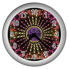 Hot Lavender Celtic Fractal Framed Mandala Wall Clock (Silver)