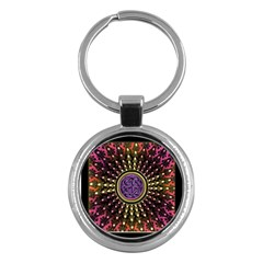 Hot Lavender Celtic Fractal Framed Mandala Key Chain (Round)