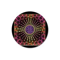Hot Lavender Celtic Fractal Framed Mandala Magnet 3  (Round)