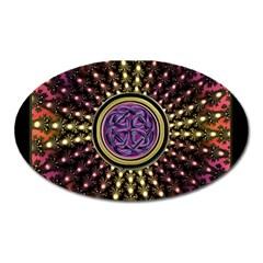 Hot Lavender Celtic Fractal Framed Mandala Magnet (Oval)