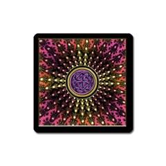 Hot Lavender Celtic Fractal Framed Mandala Magnet (Square)