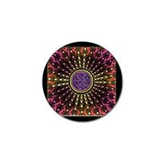Hot Lavender Celtic Fractal Framed Mandala Golf Ball Marker