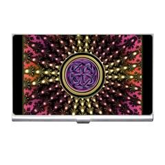 Hot Lavender Celtic Fractal Framed Mandala Business Card Holder