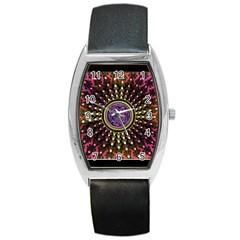 Hot Lavender Celtic Fractal Framed Mandala Tonneau Leather Watch