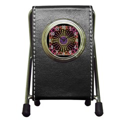 Hot Lavender Celtic Fractal Framed Mandala Stationery Holder Clock
