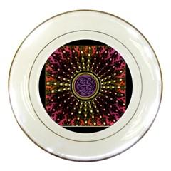 Hot Lavender Celtic Fractal Framed Mandala Porcelain Display Plate