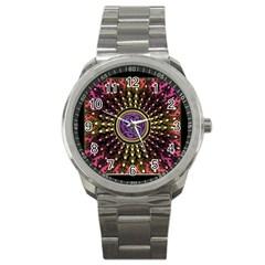Hot Lavender Celtic Fractal Framed Mandala Sport Metal Watch