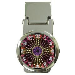 Hot Lavender Celtic Fractal Framed Mandala Money Clip with Watch