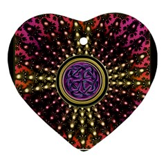 Hot Lavender Celtic Fractal Framed Mandala Heart Ornament (Two Sides)