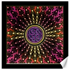 Hot Lavender Celtic Fractal Framed Mandala Canvas 16  x 16  (Unframed)