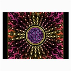 Hot Lavender Celtic Fractal Framed Mandala Glasses Cloth (Large, Two Sided)