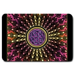 Hot Lavender Celtic Fractal Framed Mandala Large Door Mat