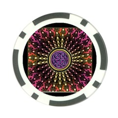 Hot Lavender Celtic Fractal Framed Mandala Poker Chip