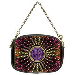 Hot Lavender Celtic Fractal Framed Mandala Chain Purse (One Side)