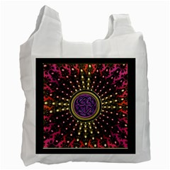 Hot Lavender Celtic Fractal Framed Mandala Recycle Bag (one Side)
