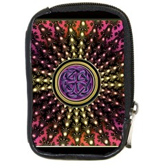 Hot Lavender Celtic Fractal Framed Mandala Compact Camera Leather Case