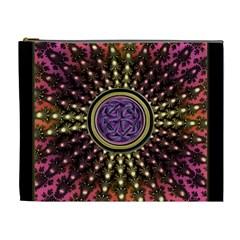 Hot Lavender Celtic Fractal Framed Mandala Cosmetic Bag (XL)