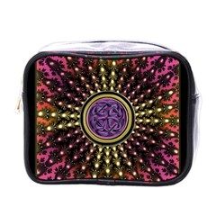 Hot Lavender Celtic Fractal Framed Mandala Mini Travel Toiletry Bag (One Side)