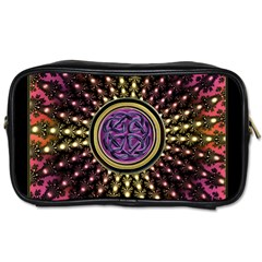 Hot Lavender Celtic Fractal Framed Mandala Travel Toiletry Bag (One Side)