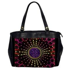 Hot Lavender Celtic Fractal Framed Mandala Oversize Office Handbag (One Side)