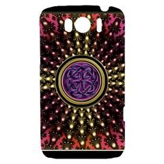Hot Lavender Celtic Fractal Framed Mandala HTC Sensation XL Hardshell Case