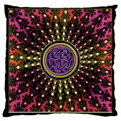Hot Lavender Celtic Fractal Framed Mandala Large Cushion Case (single Sided)