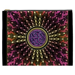 Hot Lavender Celtic Fractal Framed Mandala Cosmetic Bag (XXXL)