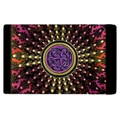 Hot Lavender Celtic Fractal Framed Mandala Apple iPad 3/4 Flip Case