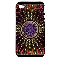 Hot Lavender Celtic Fractal Framed Mandala Apple Iphone 4/4s Hardshell Case (pc+silicone)
