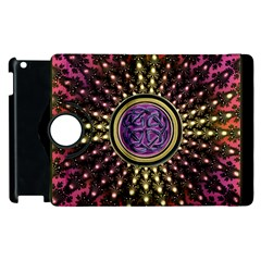Hot Lavender Celtic Fractal Framed Mandala Apple iPad 3/4 Flip 360 Case