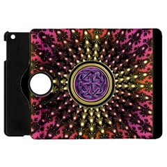 Hot Lavender Celtic Fractal Framed Mandala Apple Ipad Mini Flip 360 Case